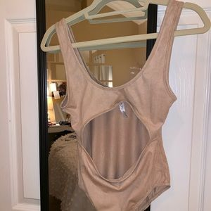 Suede cut out body suit